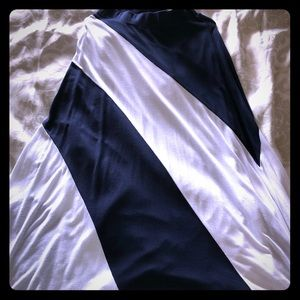 INC BLUE AND WHITE STRIPED MAXI LONG SKIRT